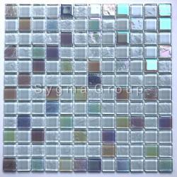 Mosaico de pared en el baño y la ducha de vidrio Habay Blanc