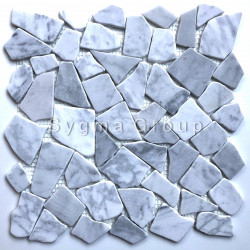 Pebbles mosaic stone marble for bathroom and shower Oria Blanc