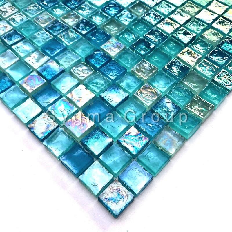 Carrelage Cuisine Mosaique Bleue De Salle De Bain Arezo Turquoise Carrelage Inox Fr