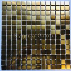 mosaique en inox metal pour salle de bains et cuisine CARTO GOLD