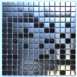 Mosaic stainless steel tile metal splashback kitchen CARTO