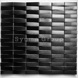 3D steel wall tiles Shelter Noir