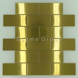 Carreaux de cuisine carrelage inox mural credence LOFT GOLD
