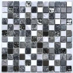 Mosaico de vidrio y piedra y acero en el suelo o la pared Willa