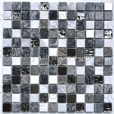 Glass stone and metal mosaic for wall and floor bathroom and shower Willa