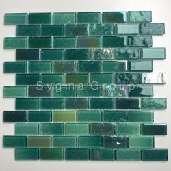 Mosaico de vidrio para las paredes de la cocina o el baño Kalindra Vert