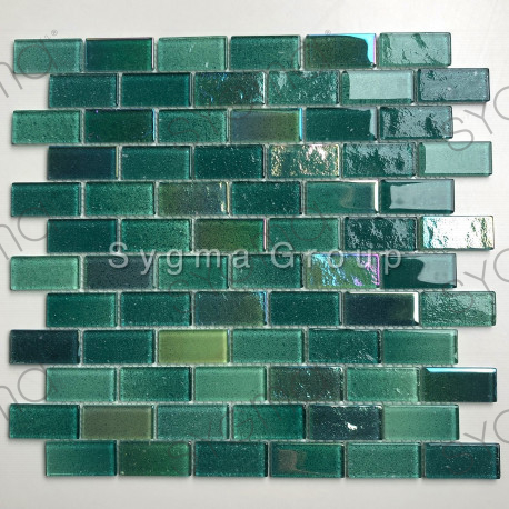 Glass mosaic for kitchen or bathroom walls Kalindra Vert