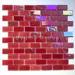 Mosaico de vidrio rojo Mosaico de pared de baño y cocina Kalindra Rouge