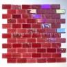 Mosaique salle de bains murale en verre rouge et cuisine Kalindra Rouge