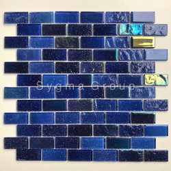 Carrelage mosaique en verre bleu pour salle de bains et mur de cuisine Kalindra Bleu