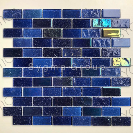Blue glass mosaic tile for bathroom and kitchen wall kalindra Bleu