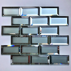 Subway tiles mirror glass and frosted glass tiles Lazarre