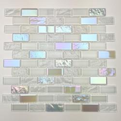 Mosaique en verre murale de cuisine ou de salle de bains Kalindra Blanc