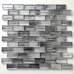 Glass mosaic sheet for kitchen and bathroom walls Haines Gris