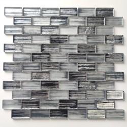 Plaque mosaique de verre pour mur de cuisine et salle de bains Haines Gris