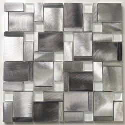 Mosaic sheet aluminium and glass for wall JARROD