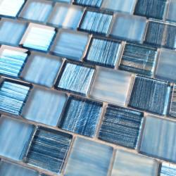 Carrelage mosaique verre pour mur salle de bain ou cuisine 1m Drio bleu