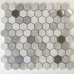 Hexagonal stone and metal mosaic shower and bathroom Bellona Beige
