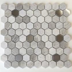 Mosaique hexagonale en pierre et métal douche et salle de bains Bellona Beige