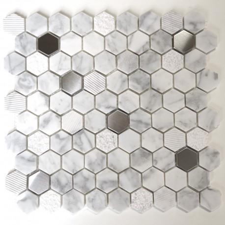 mosaique pierre et metal sol et mur douche et salle de bain Bellona Blanc