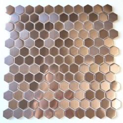 cocina y ducha de azulejos de mosaico de acero inoxidable Rossini Cuivre
