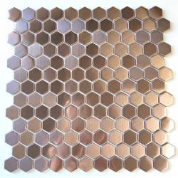 stainless steel mosaic tile kitchen and shower Rossini Cuivre