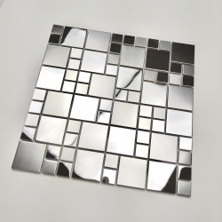 Steel mirror effect mosaic tiles for kitchen wall model Coretto
