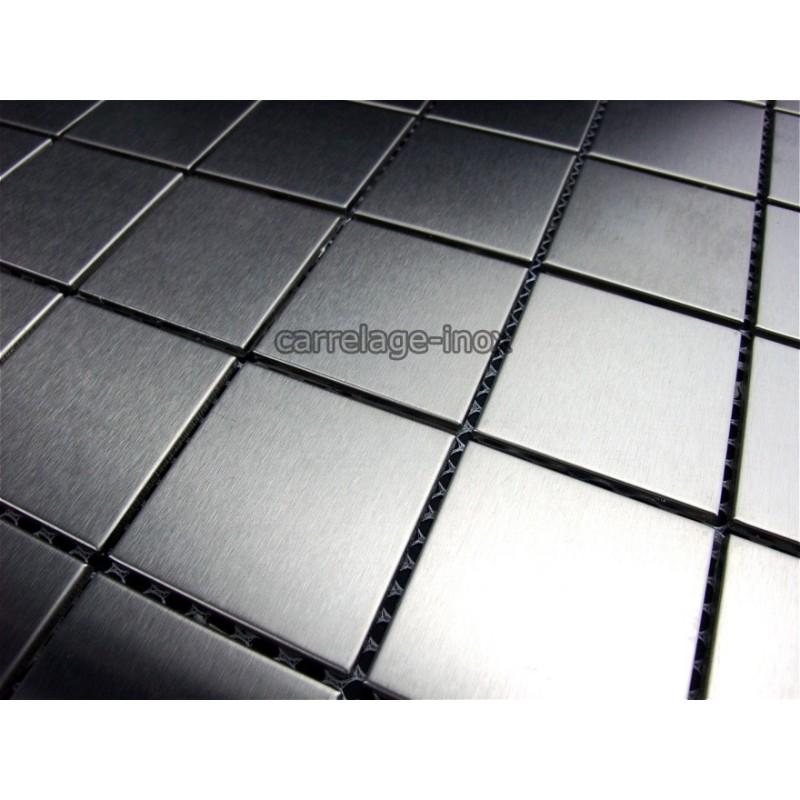 Carrelage Inox Mosaique Plan Travail Cuisine Regular 48 - Carrelage