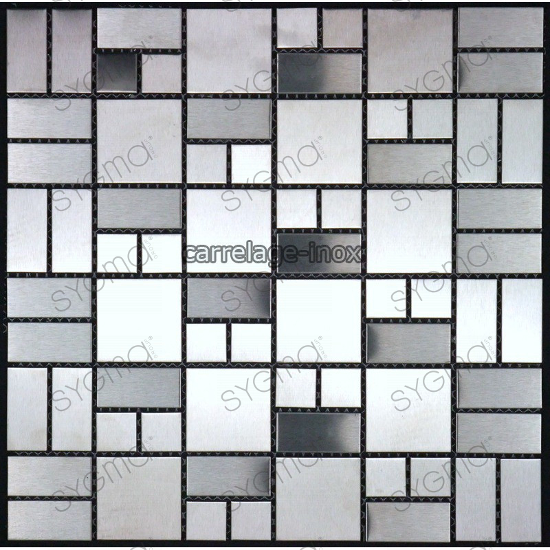 Mosaic stainless steel tile faience credence loft for Credence carrelage