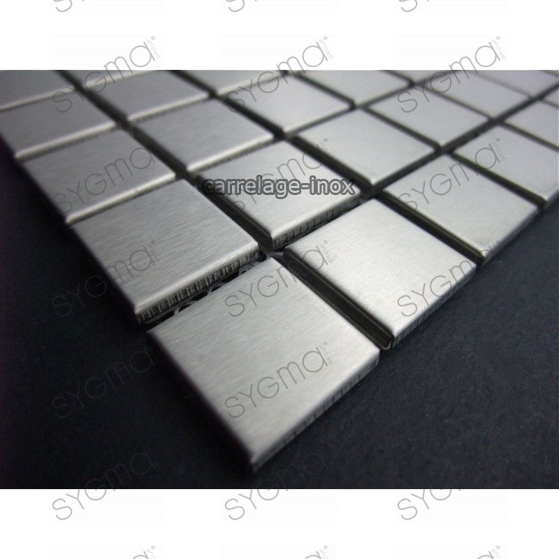 Mosa que inox 1m2 cr dence cuisine carrelage regular 20 for Carrelage inox cuisine