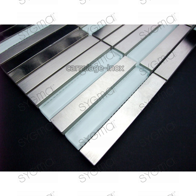 Tile stainless steel and glass mosaic plan kitchen for Carrelage inox fr