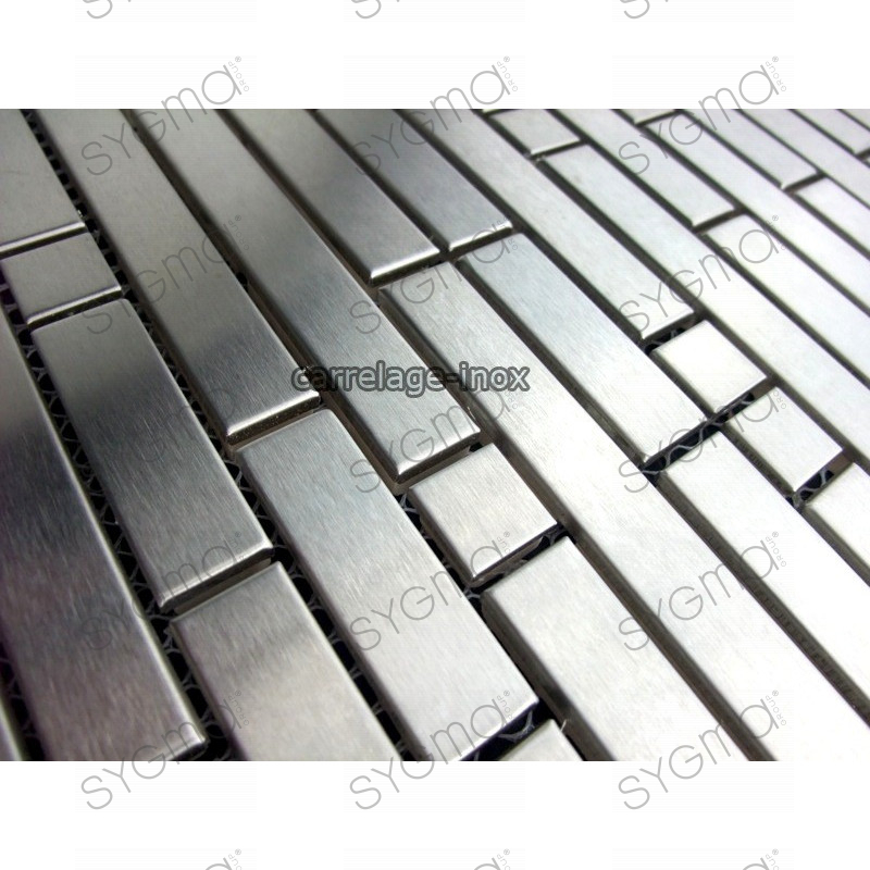 Tile stainless steel mosaic stainless credence faience for Plaque credence inox a coller