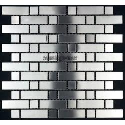 Mosaic stainless steel tiles stainless steel splashback kitchen mixed 64