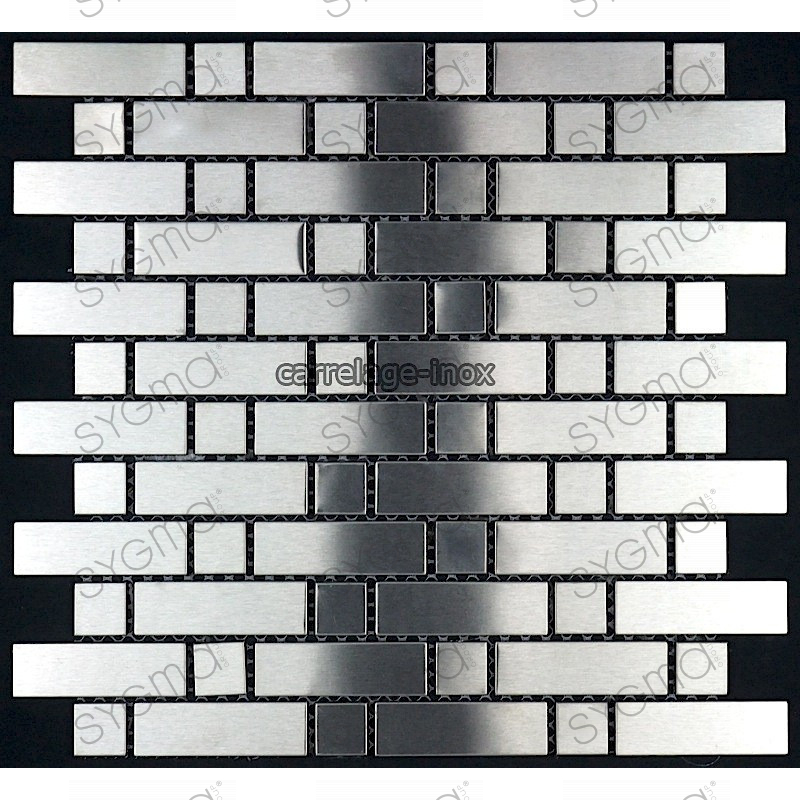 Mosaic stainless steel tiles stainless steel splashback for Carrelage inox fr