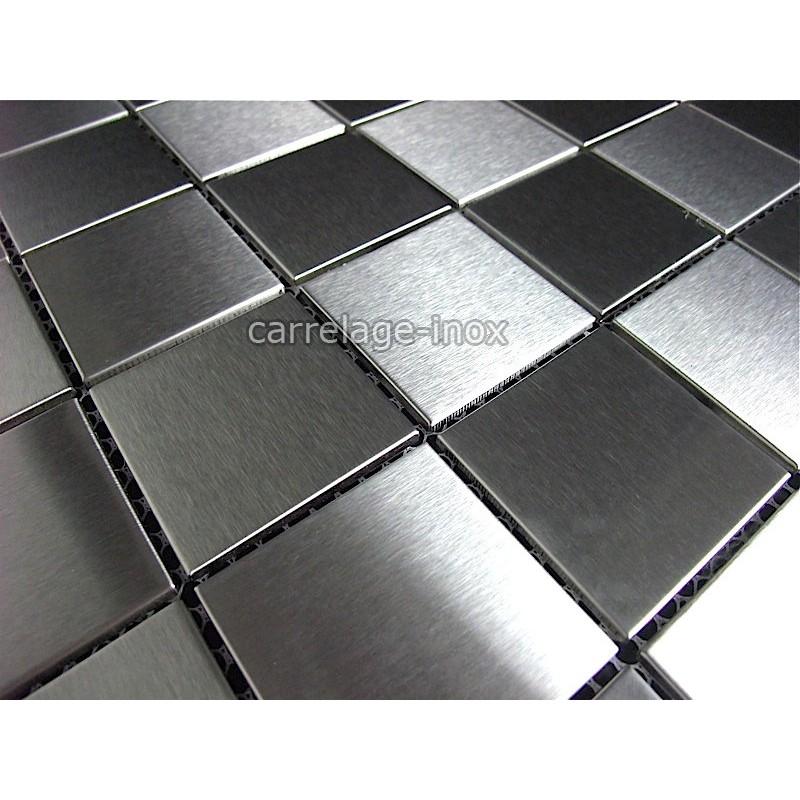 Mosaic shower tile stainless steel splashback kitchen for Carrelage inox fr