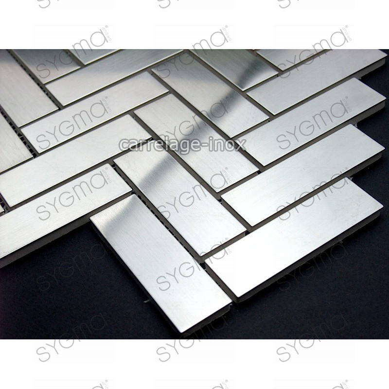 Mosaic stainless steel tile stainless steel faience baton for Plaque credence inox a coller