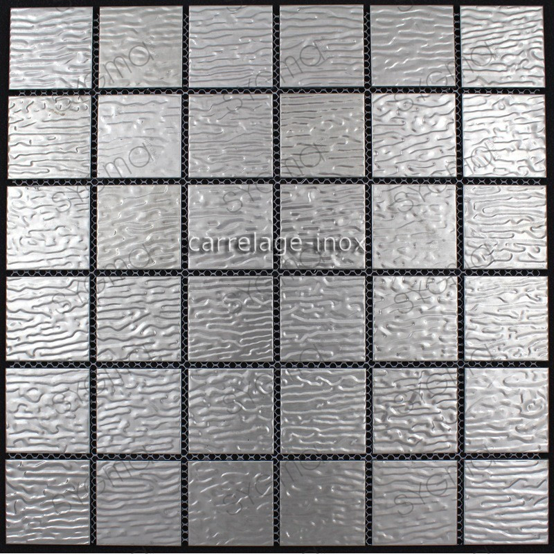 Plate mosaic stainless steel splashback kitchen stainless for Carrelage inox fr
