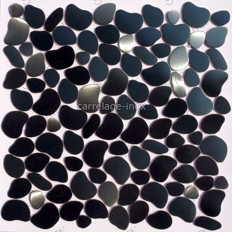 Mosaic stainless steel tile stainless credence pebble black for Mosaica carrelage