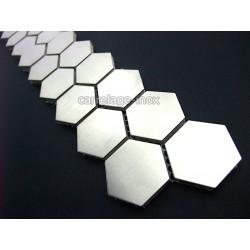 Listel inox mosaique carrelage frise acier metal HEXAGON 26