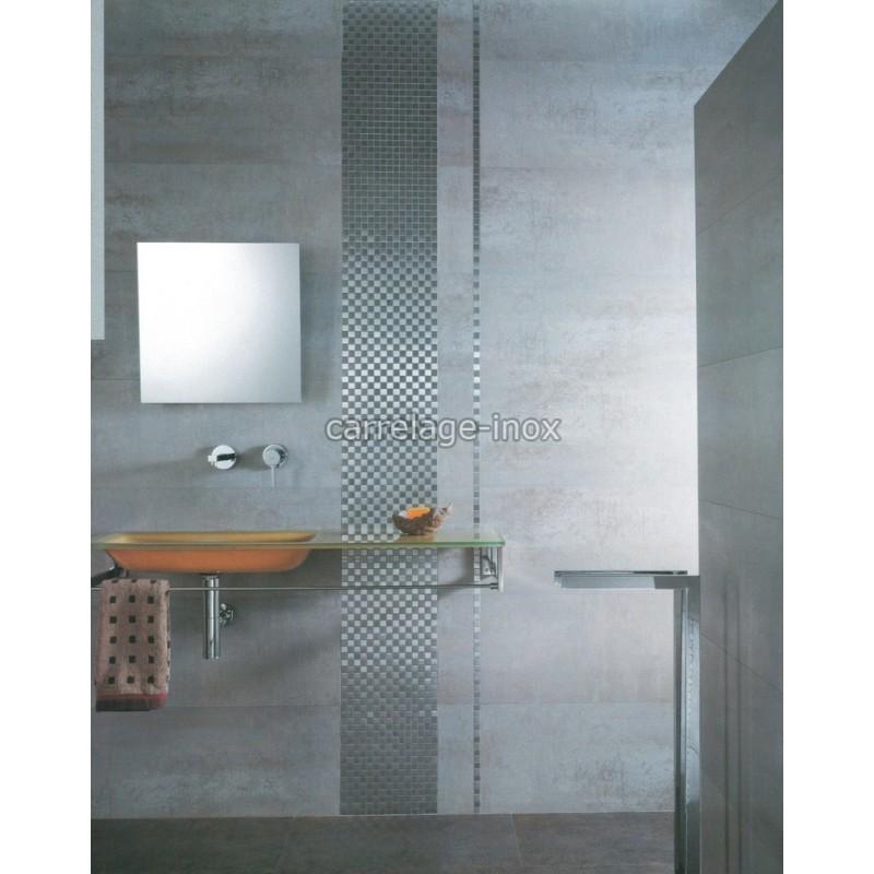 Mosaique inox carrelage salle de bain douche damier 25 - Mosaique inox ...