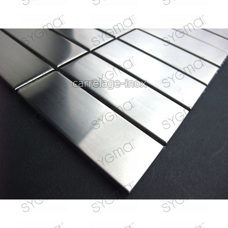 Mosaic stainless steel tile credence faience rectangular 74 for Linea carrelage