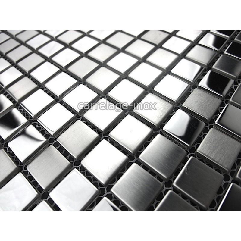 Splashback kitchen stainless steel 1m2 mosaic stainless - 1m2 en cm ...