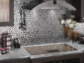 wall backsplash of kitchen in pebble mirror